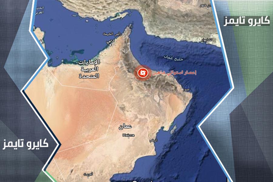 خريطة اعصار شاهين مباشر لحظة بلحظة